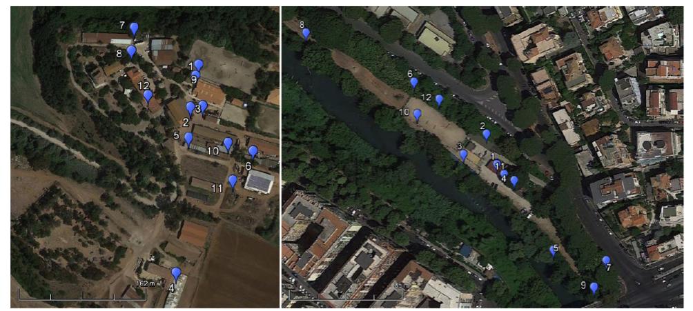Fig. 1. Aree di studio e posizioni degli erogatori: a sinistra l'Azienda Agricola e a destra il Maneggio